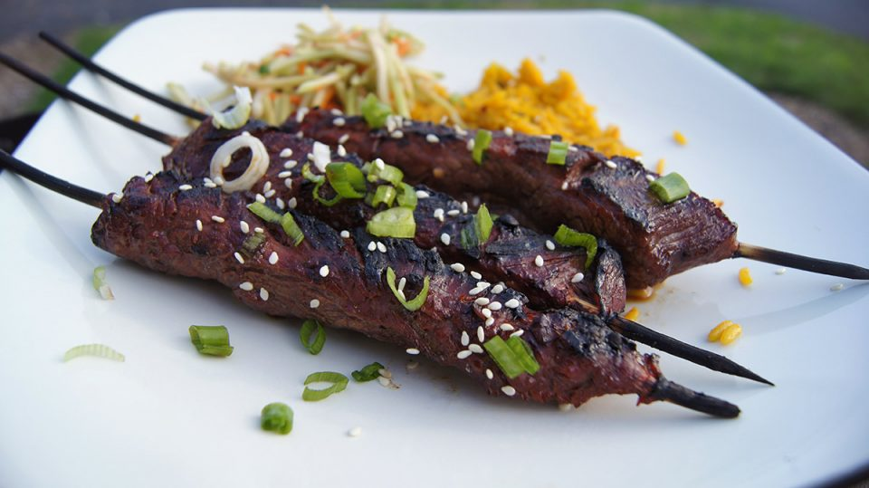 Asian Flank Steak Skewers