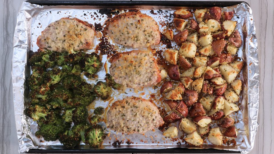Sheet Pan Garlic Parmesan Pork Chop Recipe