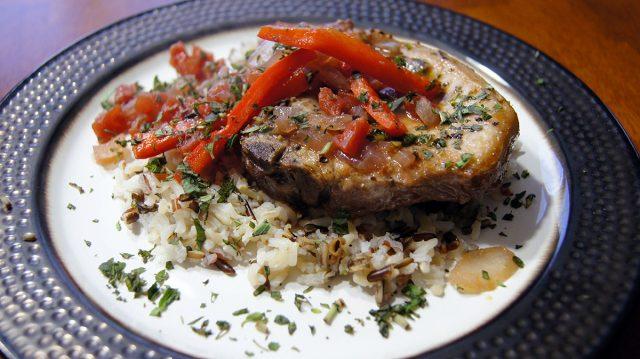 Plated Rioja-style Pork Chop