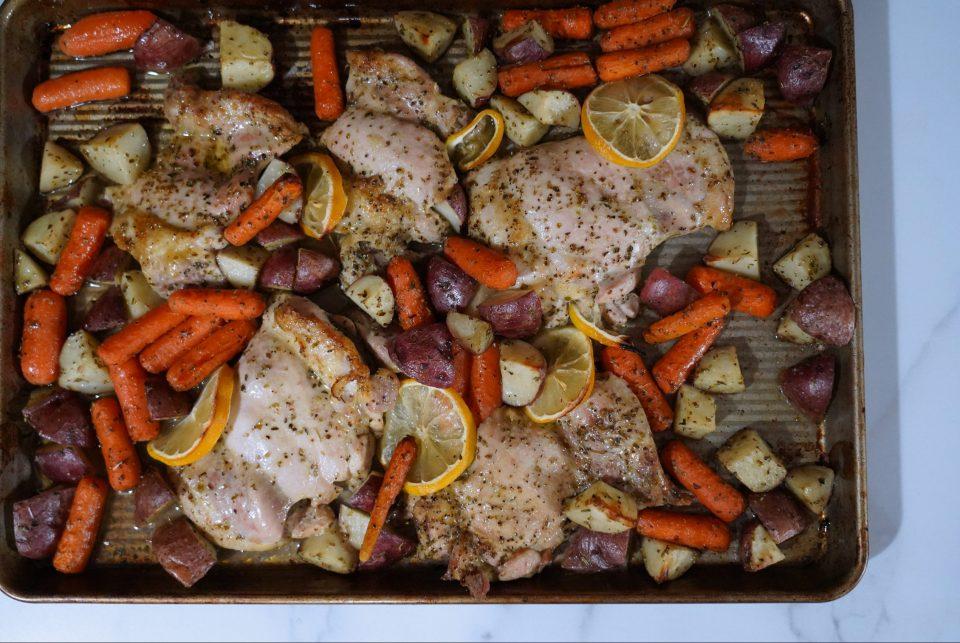 Sheet Pan Lemon Chicken Thighs