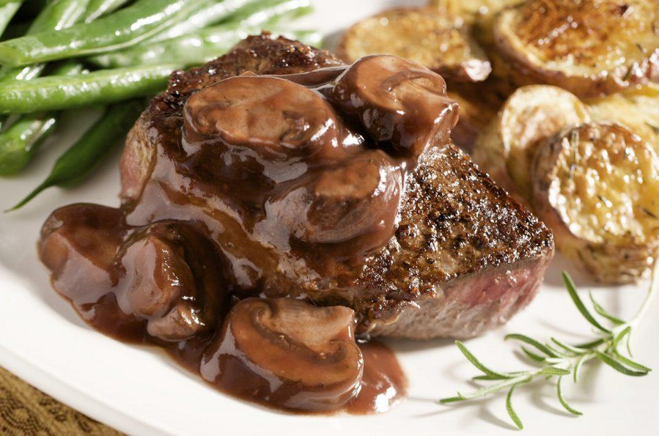 Pan Seared Steak with Red Wine Mushroom Sauce