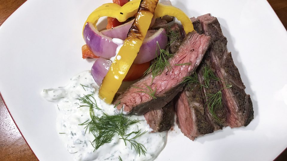 Greek Flank Steak with Tzatziki Sauce