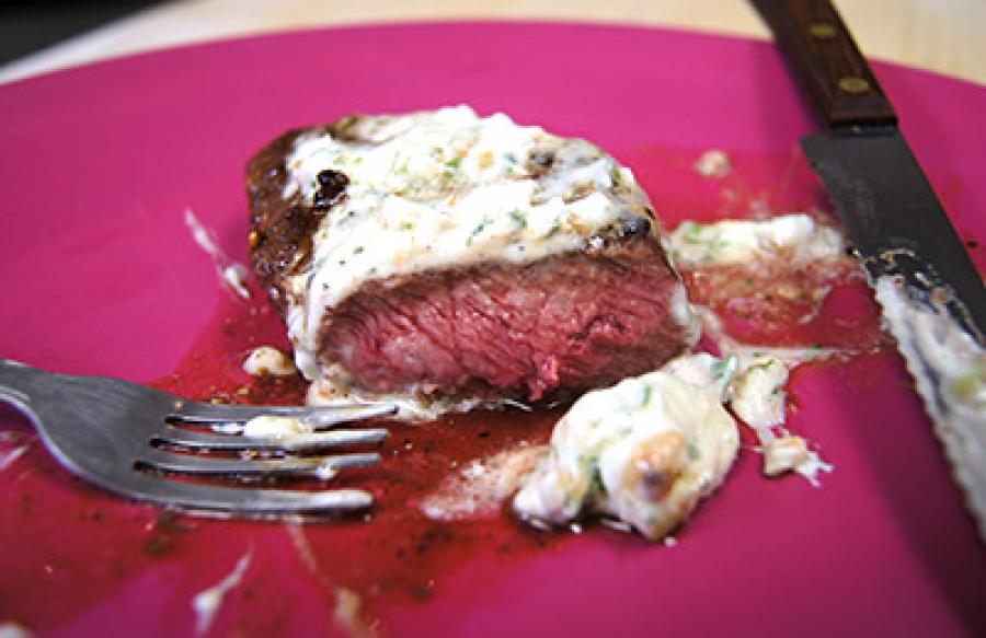 Pan Seared Flat Iron Steak with Garlic Herb Butter